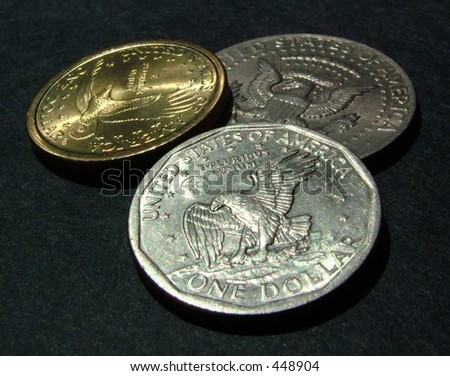 dollar coins (tails) - stock photo