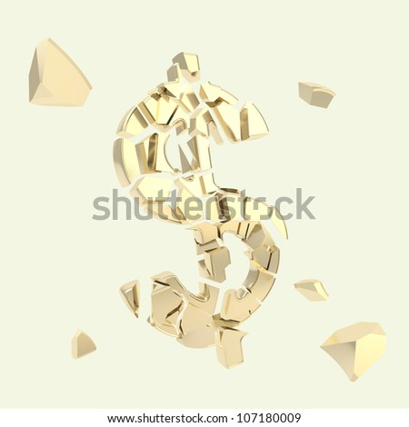 Dollar collapse metaphor as usd currency symbol broken into tiny golden metal glossy pieces isolated - stock photo