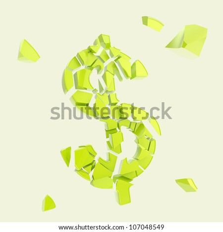 Dollar collapse metaphor as usd currency symbol broken into tiny green plastic glossy pieces isolated - stock photo