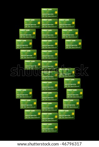 dollar credit cards on black background