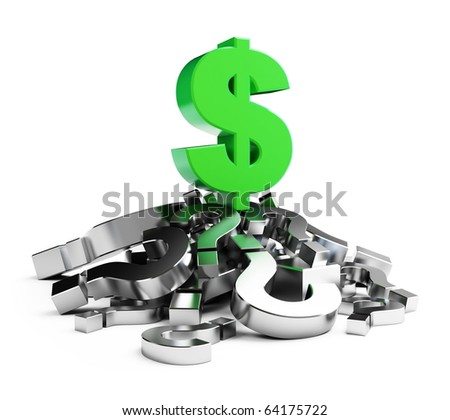 dollar crisis isolated on a white background - stock photo
