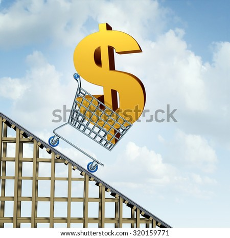 Dollar currency decline financial concept as a three dimensional American money icon in a shopping cart down a roller coaster as an economic symbol for a fall in north America and Australia money. - stock photo