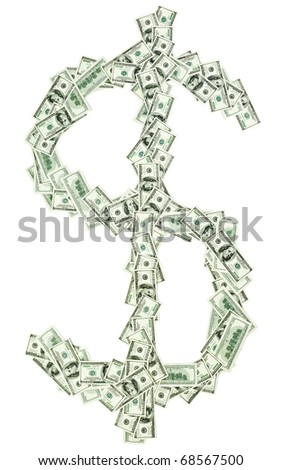 Dollar currency sign shaped with many 100 usd banknotes isolated on white - stock photo