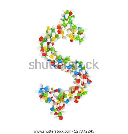 dollar currency symbol made of colorful pills