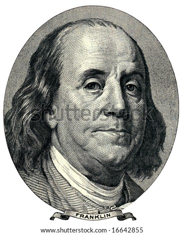 dollar detail, close up on franklin face - stock photo