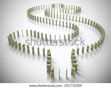 Dollar domino - stock photo