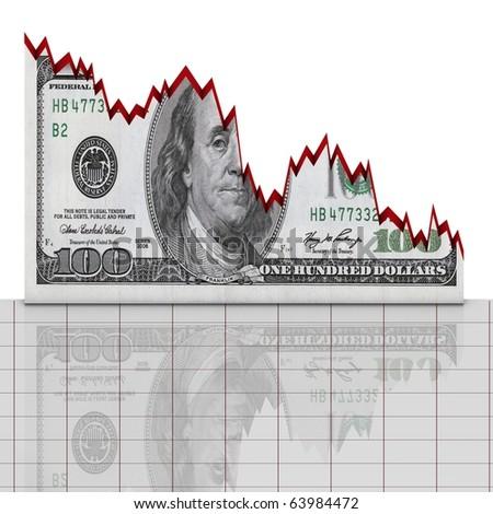 Dollar down concept - stock photo