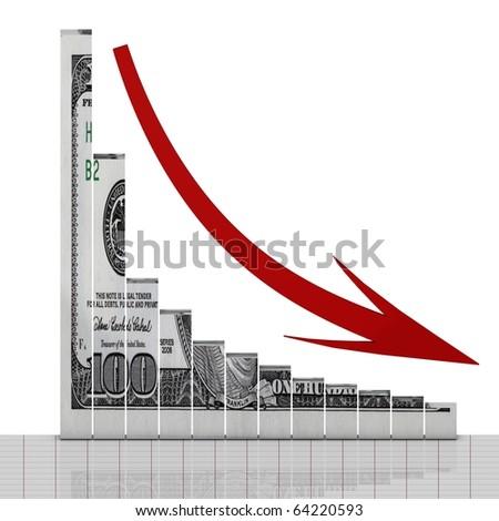 Dollar down symbol - stock photo