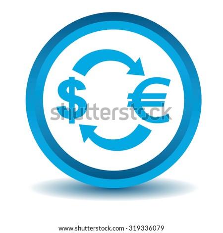 Dollar-euro exchange icon, blue, 3D, isolated on white - stock photo