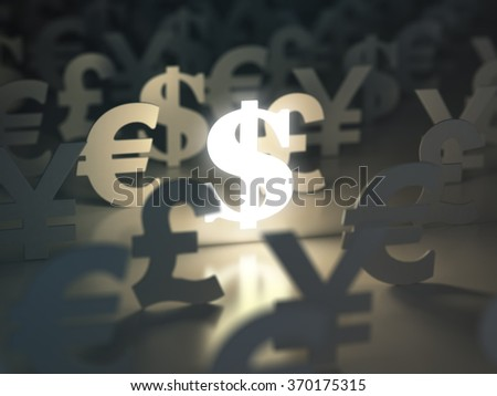 Dollar, euro, pound and yen signs. Ã??urrency exchange concept. 3d