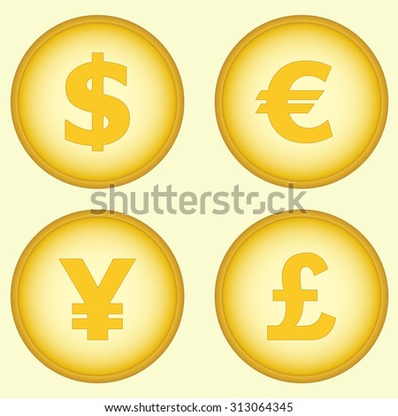 Dollar, euro, yen and pound. Currency symbols and money coins. Stock and finance design elements.  - stock photo