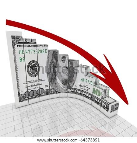 Dollar fall round corner - stock photo