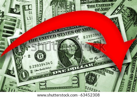 Dollar falling financial concept with red arrow indicates falls - stock photo