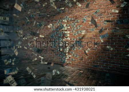 Dollar female silhouette with one leg raised against brick wall and banknotes flying around. 3D Rendering - stock photo
