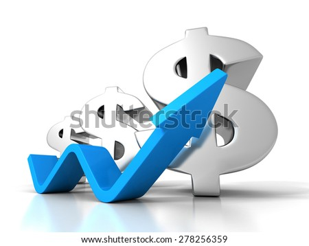 Dollar Financial Success Bar Chart Graph Growing Up Arrow. 3d Render Illustration - stock photo