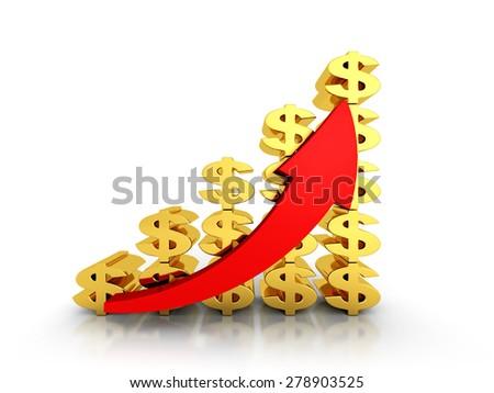 Dollar Financial Success Bar Chart Graph Growing Up Arrow. 3d Render Illustration - stock photo