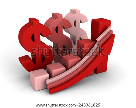 dollar financial success bar chart graph growing up arrows. financial concept 3d render illustration - stock photo