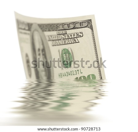Dollar floating on the water isolated on white - stock photo