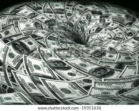 dollar flow in black hole - stock photo
