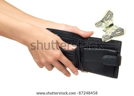 Dollar folded into a butterfly and fly away from wallet - stock photo