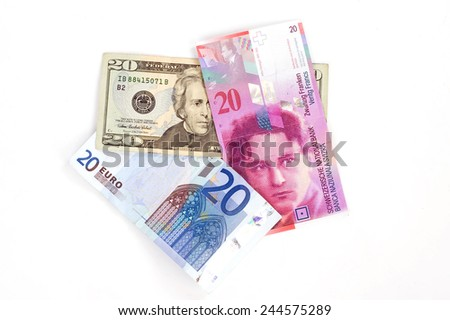 dollar, franc, euro, Europe, swiss, usa - stock photo