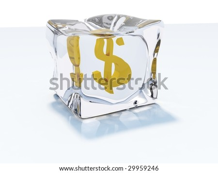 Dollar frozen in the ice cube