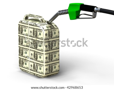 Dollar gas can and nozzle on white background - stock photo