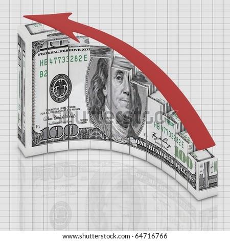 Dollar graph growing - stock photo