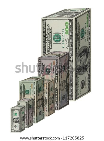 Dollar Graph Isolated on White - stock photo