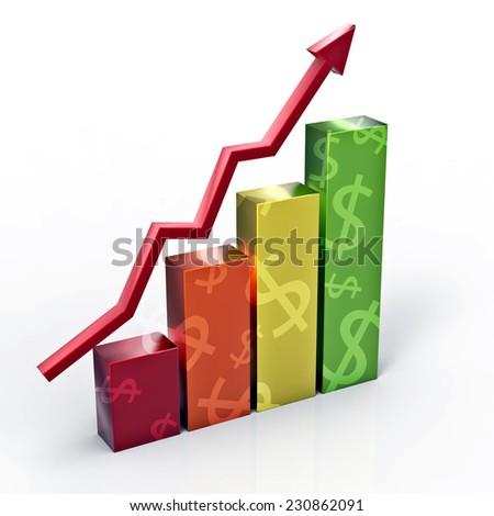 Dollar growth graph - stock photo