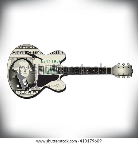 Dollar guitar art, ideal for music CD cover  - stock photo