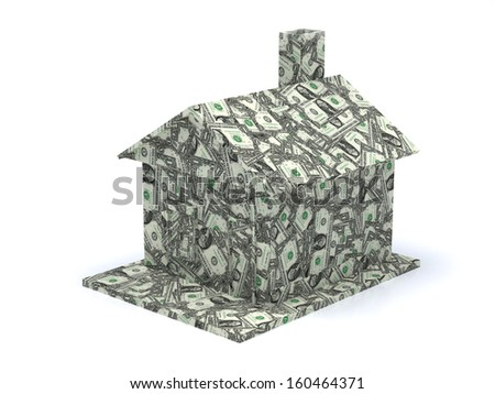 Dollar house isolated on a white background  - stock photo