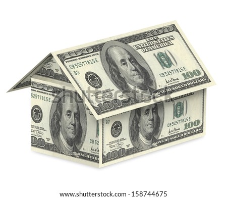 Dollar house on a white background. With clipping path - stock photo