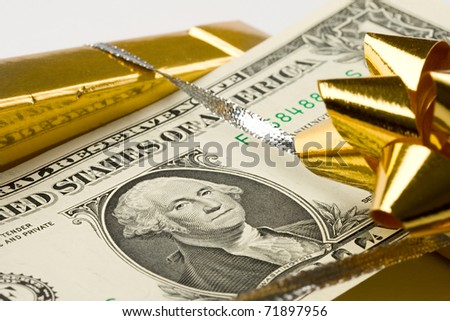 Dollar in box isolated on white - stock photo