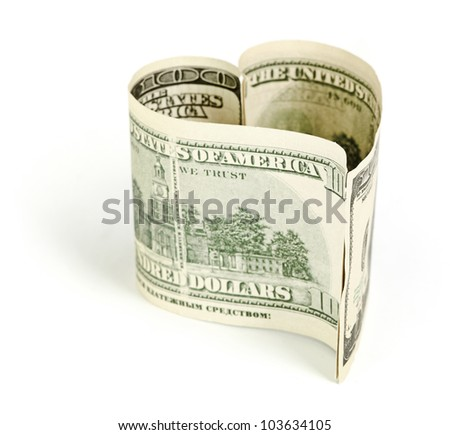 Dollar in form of heart