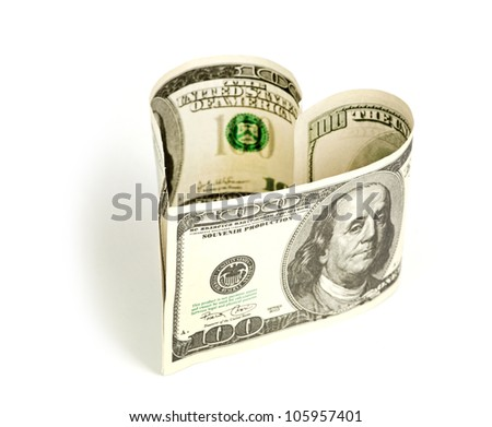 Dollar in form of heart isolated on a white background