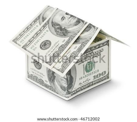 dollar in shape house isolated on white background - stock photo