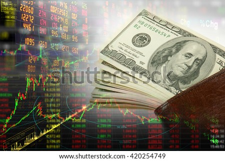 Dollar in stock graph - stock photo