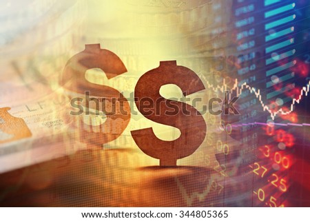 Dollar in world finance system. Finance concept.  - stock photo