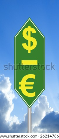 Dollar is up, the Euro down sign - stock photo