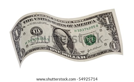 dollar,isolated on white with clipping path. - stock photo