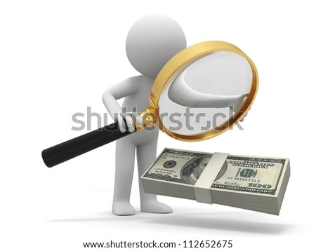 Dollar/Magnifying glass/ a person watching a bundle of dollars with a magnifying glass