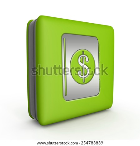 dollar money book square icon on white background