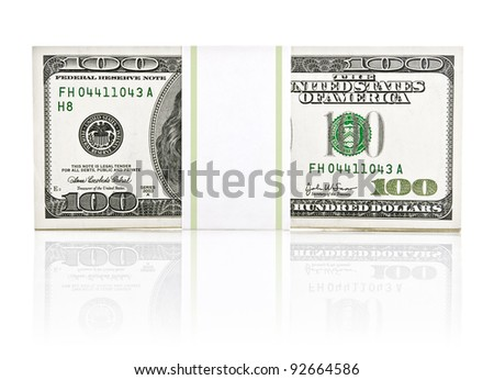 dollar money in the paper type pack isolated on white background