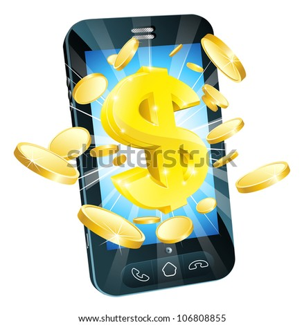 Dollar money phone concept illustration of mobile cell phone with gold dollar and coins - stock photo