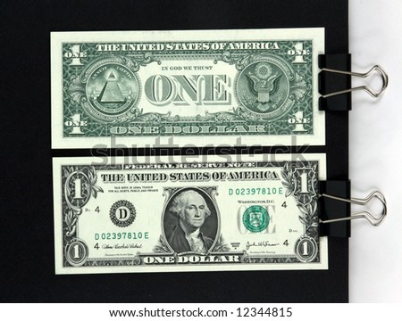 dollar note from right and circulating sides