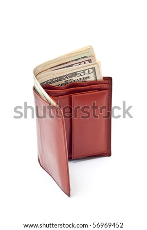 Dollar notes and brown wallet isolated on white - stock photo