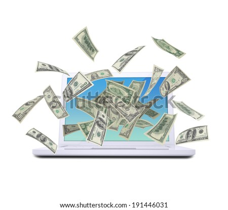 Dollar notes flying around the laptop. Isolated on white background