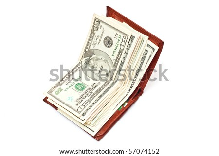 Dollar notes in brown wallet isolated on white background