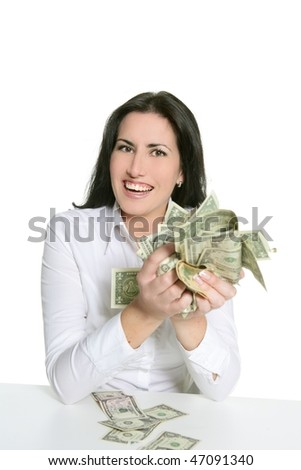 Dollar notes in happy brunette woman hands isolated on white - stock photo